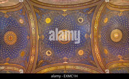 JERUSALEM, ISRAEL - MARCH 3, 2015: The mosaic ceiling in The Church of All Nations (Basilica of the Agony) designed - Stock Photo