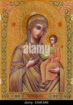 JERUSALEM, ISRAEL - MARCH 5, 2015: The icon of Madonna in Russian orthodox Church of Holy Mary of Magdalene by unknown - Stock Photo