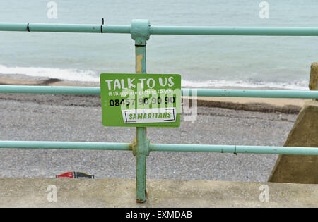 Brighton UK Wednesday15th July 2015 - Samaritans sign at the top of Ovingdean Cliffs just east of Brighton near - Stock Photo