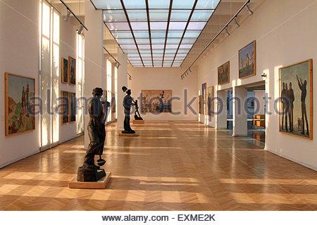 Tirana, Albania. 06th Sep, 2013. Communist-era art on display inside the National Art Gallery in Tirana. © Dominic - Stock Photo