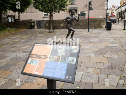 Statue of local hero rugby player, Ken Jones,  Blaenavon, Torfaen, Monmouthshire, South Wales, UK - Stock Photo