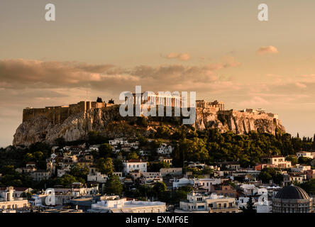 Sunset over the Acropolis, Athens, Greece - Stock Photo