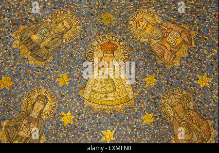 JERUSALEM, ISRAEL - MARCH 3, 2015: The mosaic of Madonna in side apse of Dormition abbey - Stock Photo