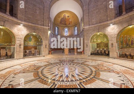 JERUSALEM, ISRAEL - MARCH 3, 2015: The main nave of The Dormition abbey with the mosaic floor designed and carried - Stock Photo
