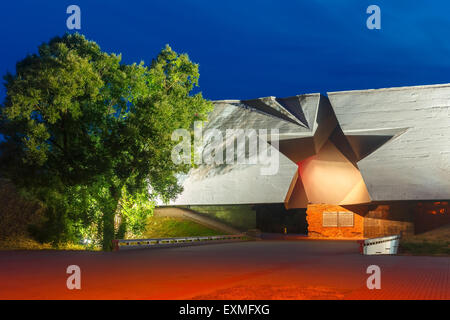 Entrance to Brest fortress at night, Belarus - Stock Photo