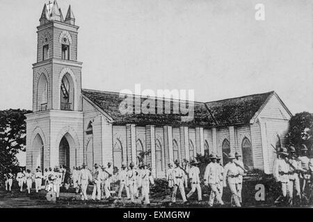 Post card of heritage roman catholic church ; Ahmednagar ; Maharashtra ; India - Stock Photo