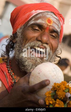 Hindu saint in Varanasi on Ganga river ; Uttar Pradesh ; India - Stock Photo