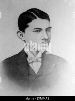 Mahatma Gandhi as a law student in London England UK United Kingdom 1890 - Stock Photo