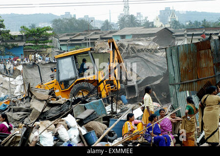 Demolition of illegal slums on the Mankhurd Link Road in Bombay now Mumbai Maharashtra India