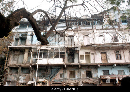 building damaged bomb blast explosion Zaveri Bazaar Kalbadevi Bombay Mumbai india - Stock Photo