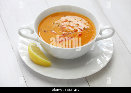 red lentil soup, mercimek corbasi, turkish cuisine - Stock Photo
