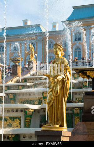 Fountains of the Grand Cascade At Peterhof Palace, Saint Petersburg, Russia - Stock Photo