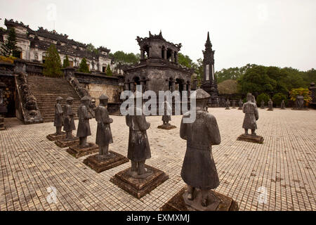Tomb of the second last Emperor Khai Dinh, Esplanade with statues of civil and military mandarins - Stock Photo