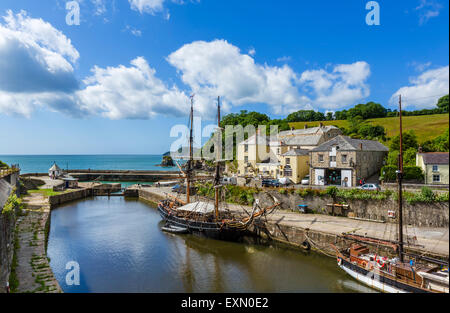 The harbour in the village of Charlestown, St Austell Bay, Cornwall, England, UK - Stock Photo