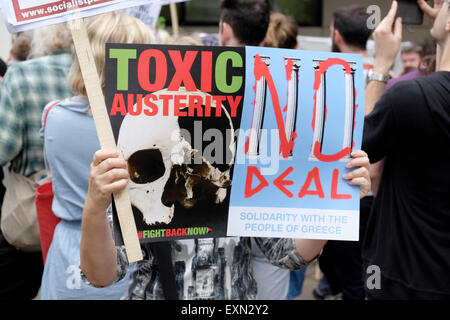 London, UK, 15th July 2015. About two hundred people protest outside the German embassy in London to support Greek - Stock Photo