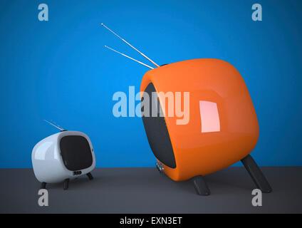 3D Illustration, small versus big, white and orange TV - Stock Photo