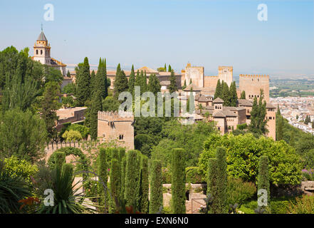 Granada - The panorama of Alhambra and the town from Generalife gardens. - Stock Photo