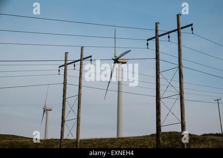 Pylons carrying electricity from Rheidol Hydro Power Station and Wind Turbines at Rheidol wind farm,turbine,power,Wales,Powys, - Stock Photo