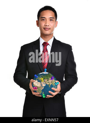 bussiness man hold the earth isolated on white background. Elements of this image furnished by NASA. - Stock Photo
