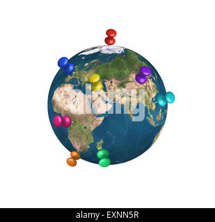 pins on Earth isolated on white background. Elements of this image furnished by NASA. - Stock Photo