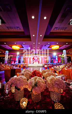 Image of a beautifully decorated ballroom for an Indian wedding reception - Stock Photo
