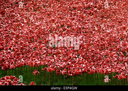 Blood Swept Lands and Seas of Red, Tower of London Poppies World War One Art Installation, London 2014 - Stock Photo
