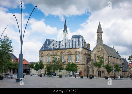 Town Hall and St Anne's church Market Place  Bishop Auckland, Co. Durham UK - Stock Photo