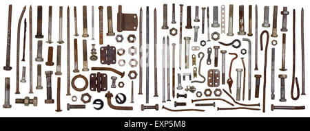 Fixing steel rusty metal elements - bolts, screws, bracket, nuts,  hooks big set. Isolated retro macro concept - Stock Photo
