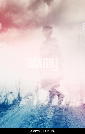 Woman Walking Through Countryside, Anxiety Concept, Double Exposure, Abstract Composition - Stock Photo