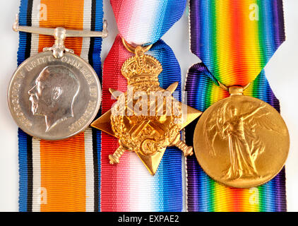 First World War medals: 'Pip, Squeak and Wilfred'  British War Medal; 1914 Star; Victory Medal (left to right) - Stock Photo