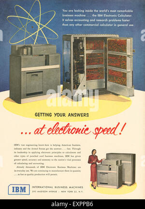 1950s USA IBM Magazine Advert - Stock Photo