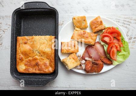 Homemade Egg Pie for TV Dinner - Stock Photo