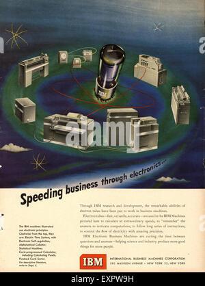 1950s USA IBM Magazine Advert - Stock Photo