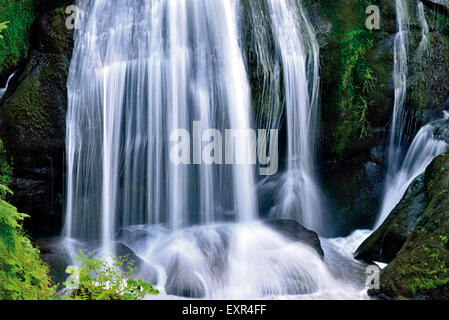 Germany, Black Forest: Cascade of the Triberg Waterfall - Stock Photo