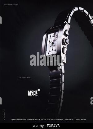 2000s UK Mont Blanc Watches Magazine Advert - Stock Photo