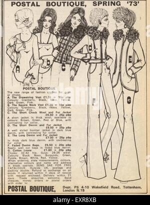 1970s UK Postal Boutique Magazine Advert - Stock Photo