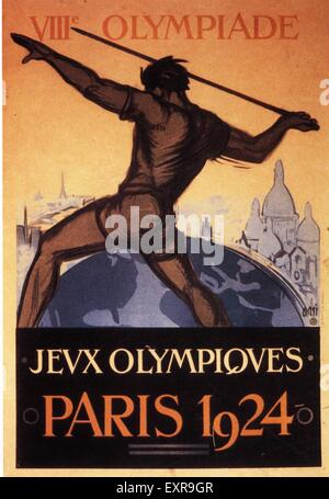 1920s France Olympic Games Poster - Stock Photo