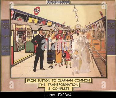 1920s UK The Underground Trains Poster - Stock Photo