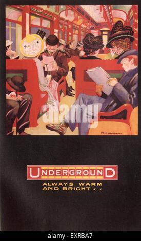 1930s UK The Underground Trains Poster - Stock Photo