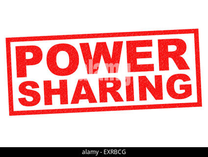 POWER SHARING red Rubber Stamp over a white background. - Stock Photo