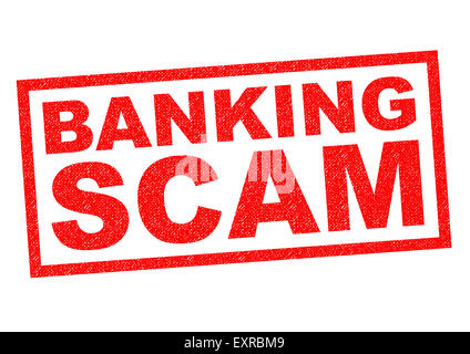BANKING SCAM red Rubber Stamp over a white background. - Stock Photo