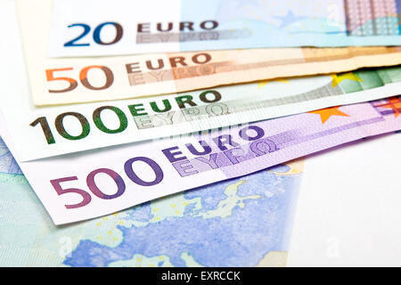Various Euro denominations - 500, 100, 50 and 20 - Stock Photo