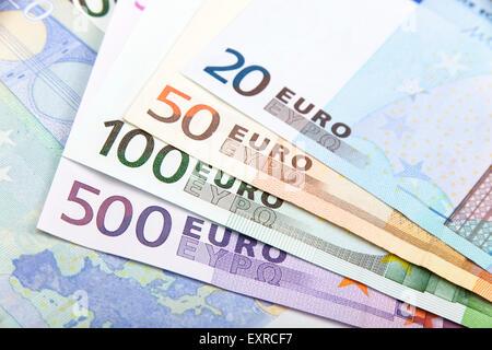 Various Euro denominations - 500, 100, 50 and 20 - Stock Photo