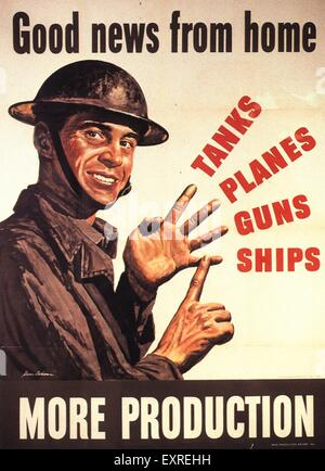 1940s USA Propaganda WW2 Poster - Stock Photo