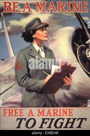 1940s USA Propaganda WW2 Poster - Stock Photo