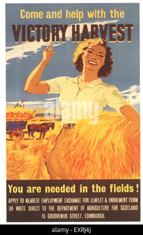 1940s UK Victory Harvest Poster - Stock Photo