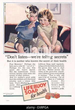 1920s UK Lifebuoy Magazine Advert - Stock Photo
