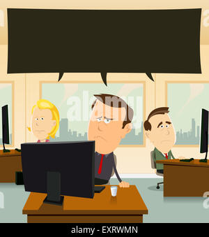 Illustration of cartoon businessmen and women team at work, in their office feeling sad and depressed - Stock Photo