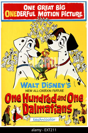 1960s USA Walt Disney's One Hundred and One Dalmations Film Poster - Stock Photo