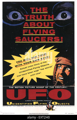 1940s USA Unidentified Flying Objects: The True Story Of Flying Saucers / UFO Film Poster - Stock Photo